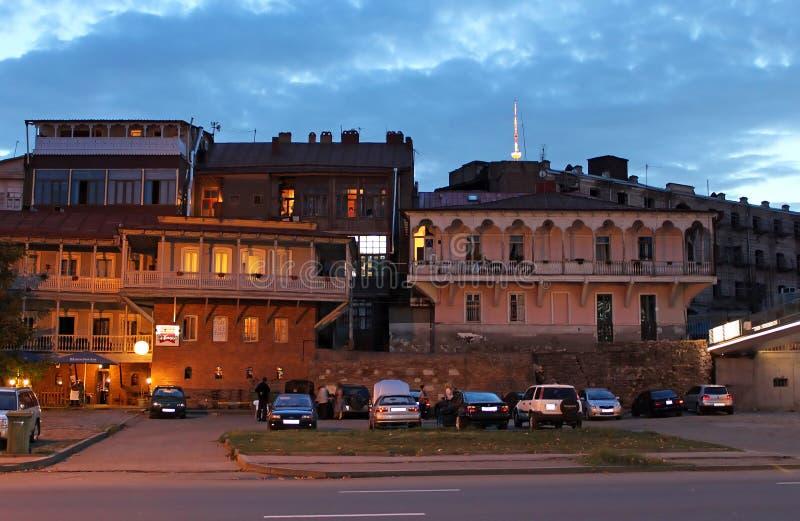 Ulica stary Tbilisi w wieczór, Gruzja obraz royalty free