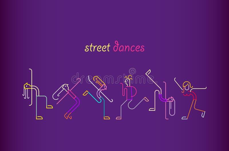 Ulica Tanczy wektorową ilustrację ilustracji