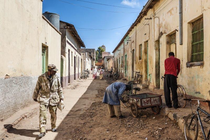 Ulica w środkowym targowym terenie Asmara miasto Eritrea obrazy royalty free