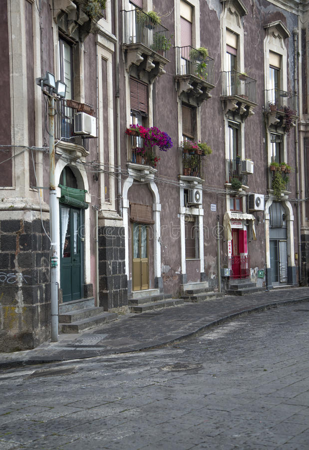 Ulica w Catania, Włochy obrazy royalty free