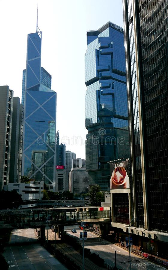 Ulica w centrali i budynki biurowi w Hong Kong fotografia stock