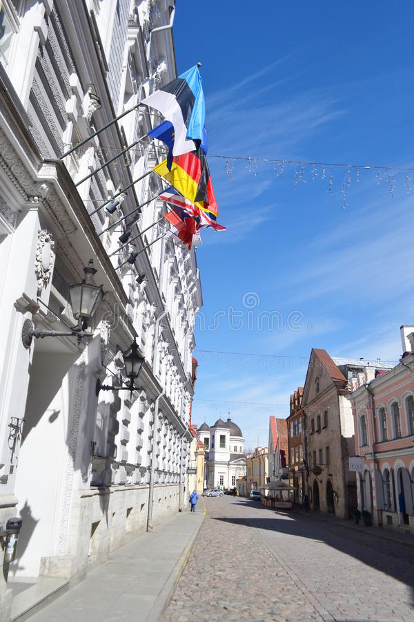 Ulica w centrum Tallinn obraz stock