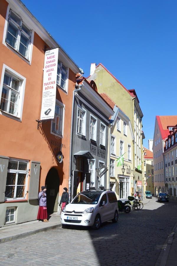 Ulica w centrum Tallinn obraz royalty free