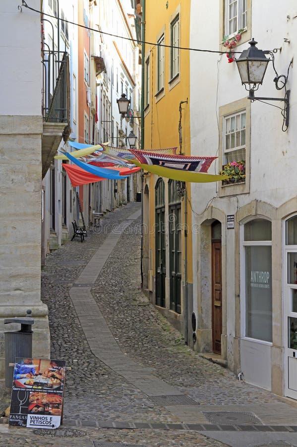 Ulica w dziejowym centrum Coimbra fotografia royalty free