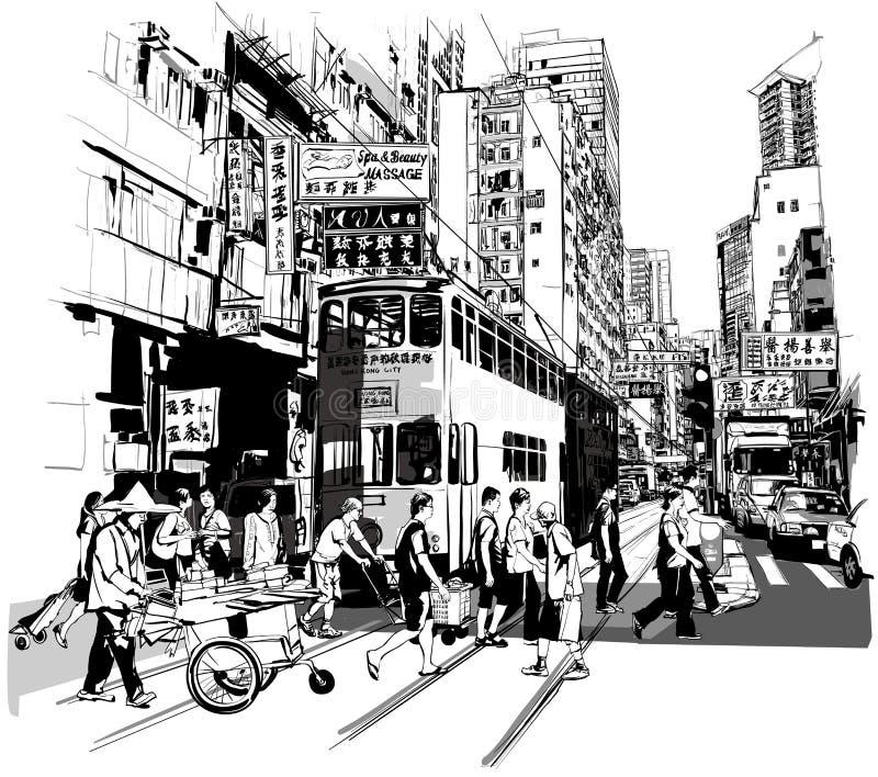 Ulica w Hong Kong ilustracji