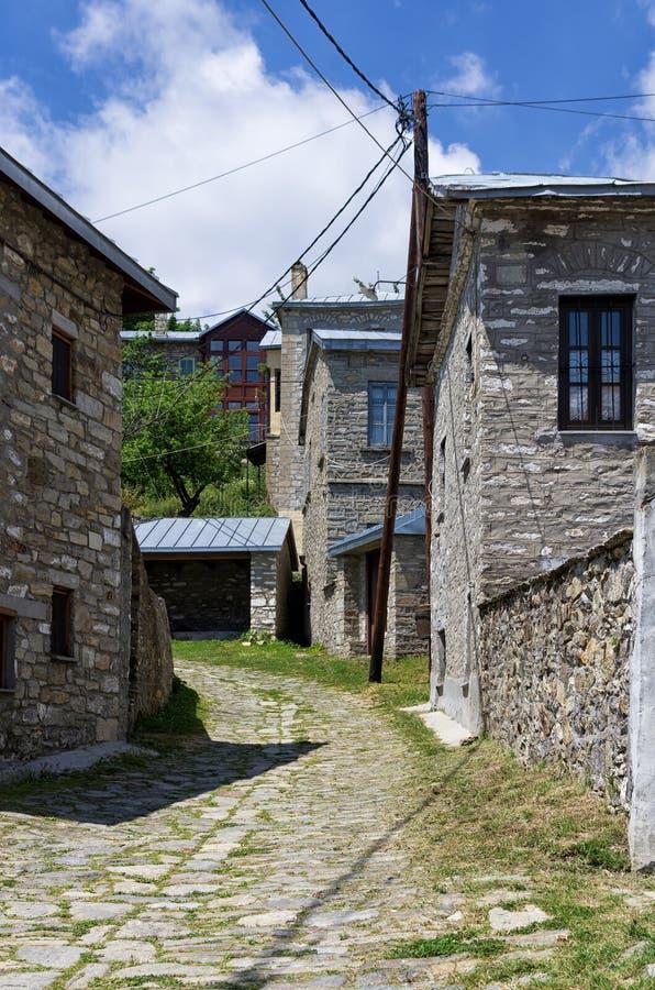 Ulica w Nimfaio wiosce, Florina, Grecja obraz royalty free