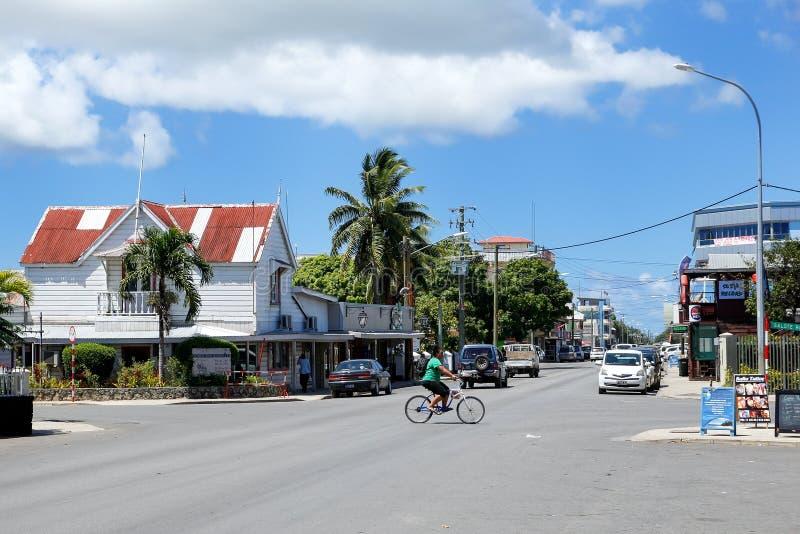 Ulica w Nuku ` alofa na Tongatapu wyspie, Tonga zdjęcia royalty free