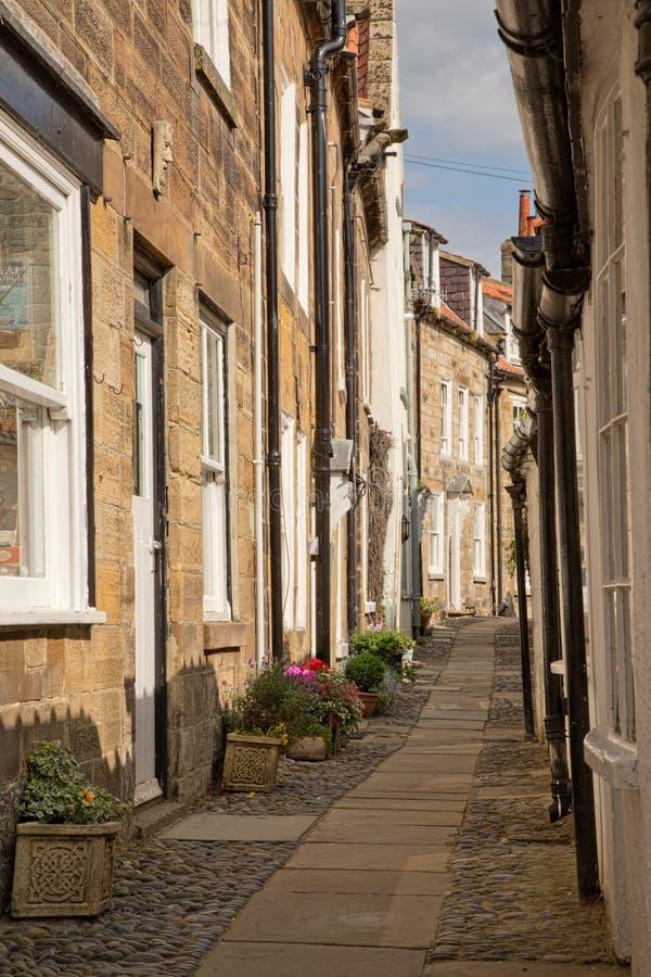 Ulica w rudzika kapiszonu zatoce w Yorkshire w Anglia obrazy stock