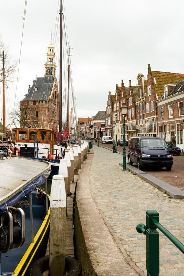 Ulica w schronienia miasteczku Hoorn, holandie zdjęcie royalty free