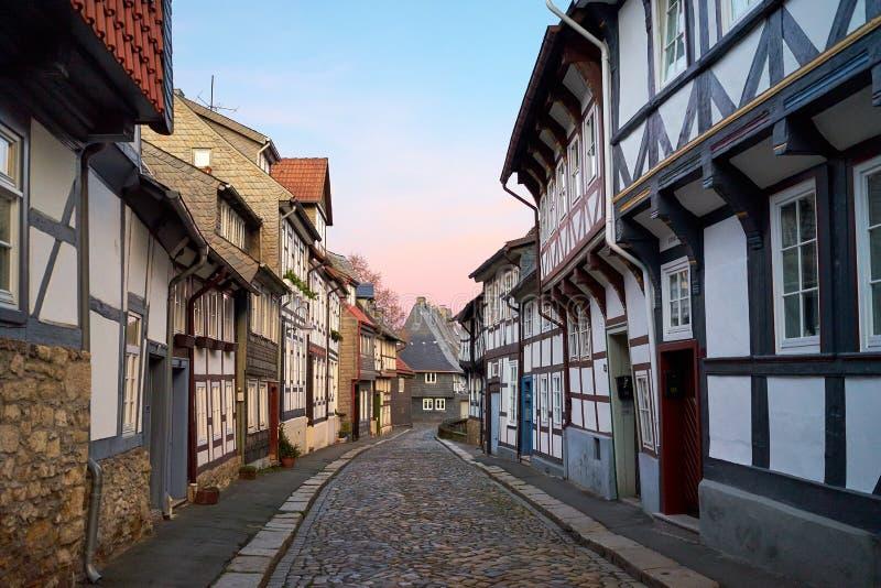 Ulica w Starym miasteczku Gorlar, Niski Saxony, Niemcy zdjęcie stock