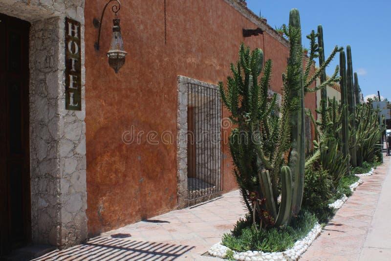 Ulica z atrakcyjnym Meksykańskim dotykiem który łapie uwagę fotografia stock
