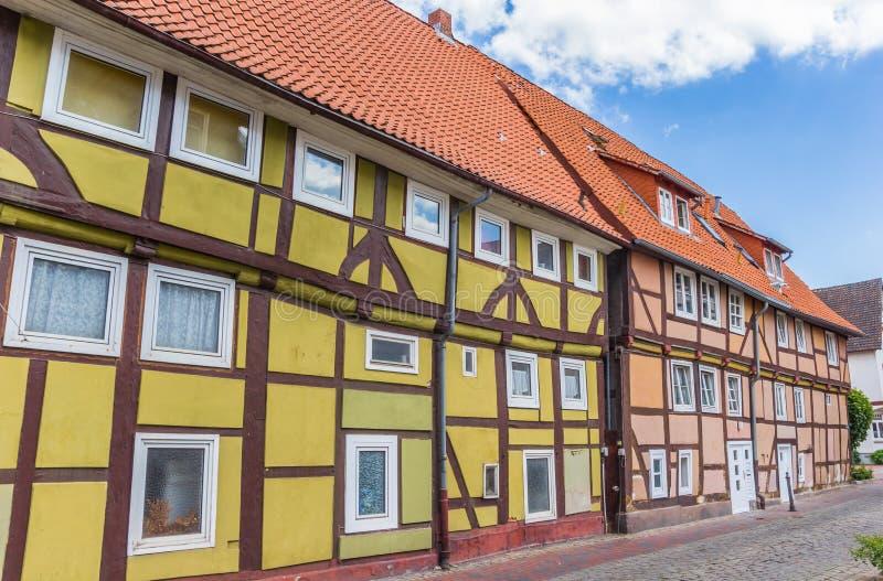Ulica z kolorowymi ryglowymi domami w Rinteln fotografia royalty free