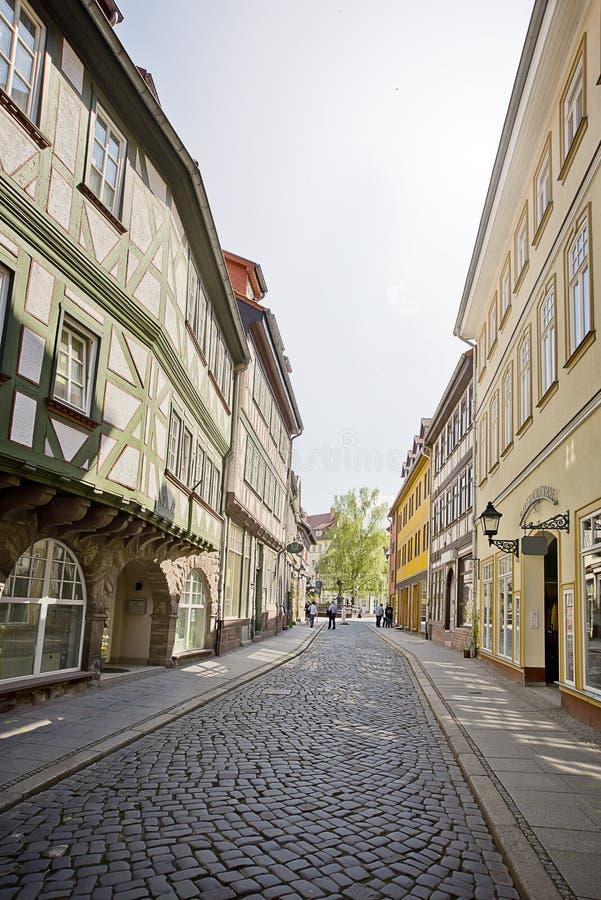 Ulica z połówka cembrującymi domami fotografia royalty free