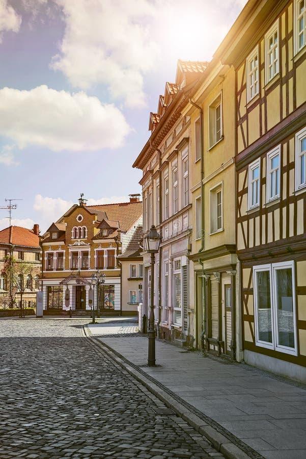 Ulica z połówka cembrującymi domami obraz royalty free