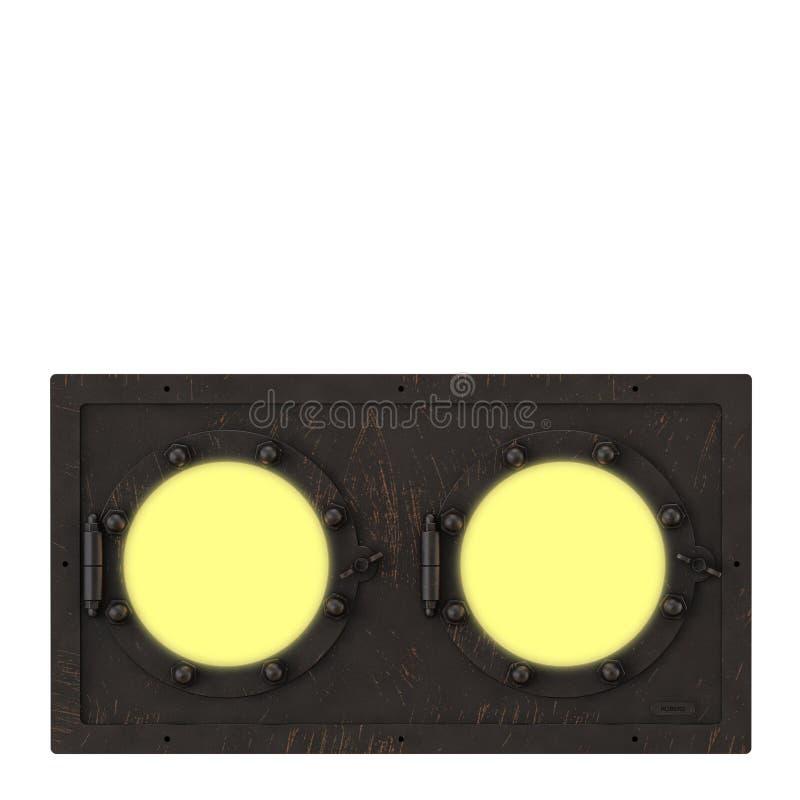 Ulicy żelazna retro lampa na białym tle 3d ilustracji