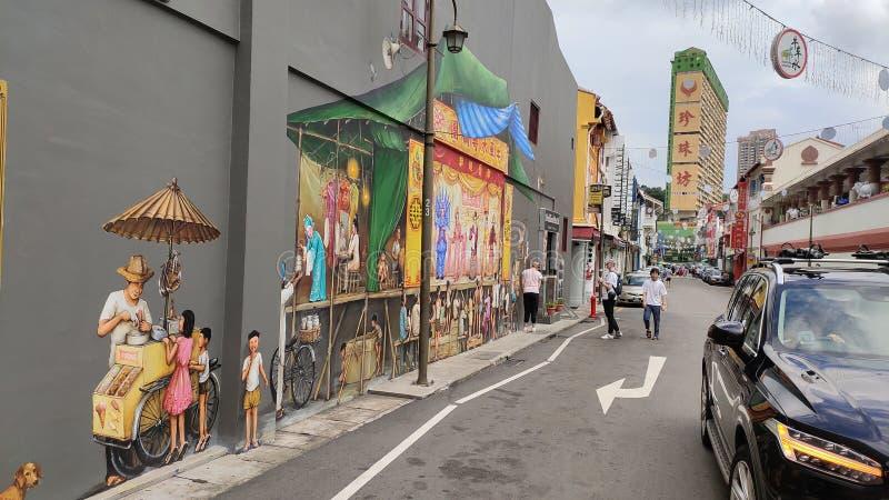 Ulicy ścienny boleć przy chaina miasteczkiem, Singapore obraz royalty free