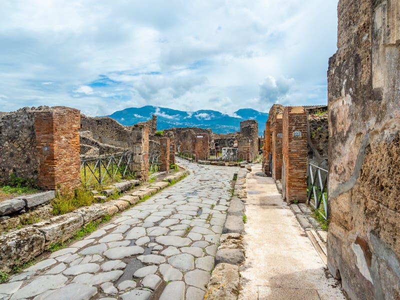 Ulicy i wille Pompeii, Włochy Światowe Dziedzictwo lista obraz stock