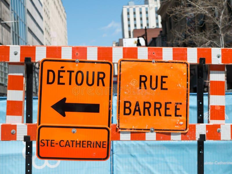 Ulicy Montreal Zatykają Z Niekończący się Roadwork zdjęcie royalty free