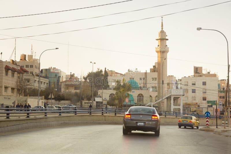 Ulicy w wczesnym poranku w Amman, Jordania obrazy stock