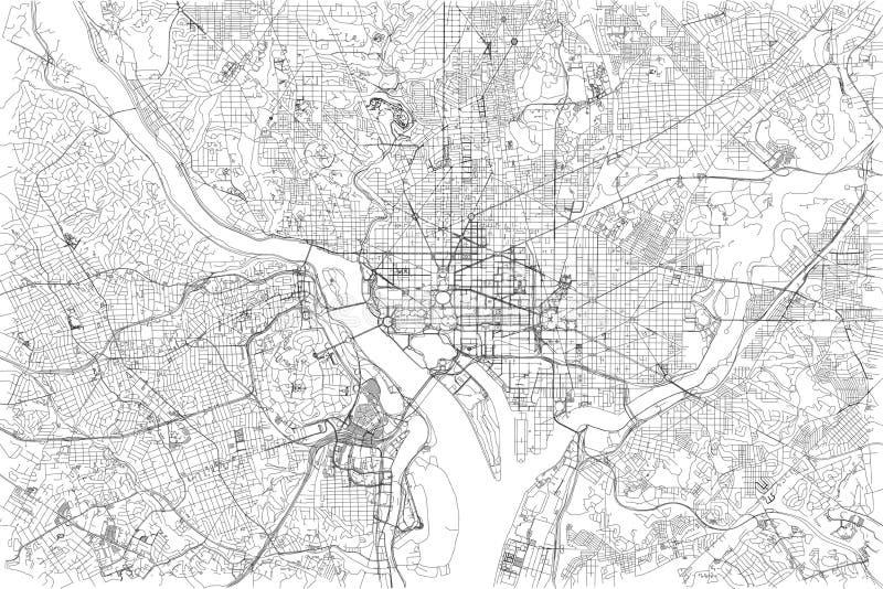 Ulicy Waszyngton, miasto mapa, Stany Zjednoczone ilustracji