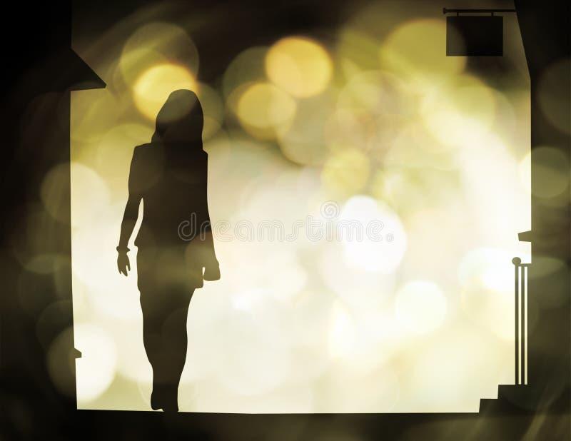 uliczna chodząca kobieta ilustracja wektor