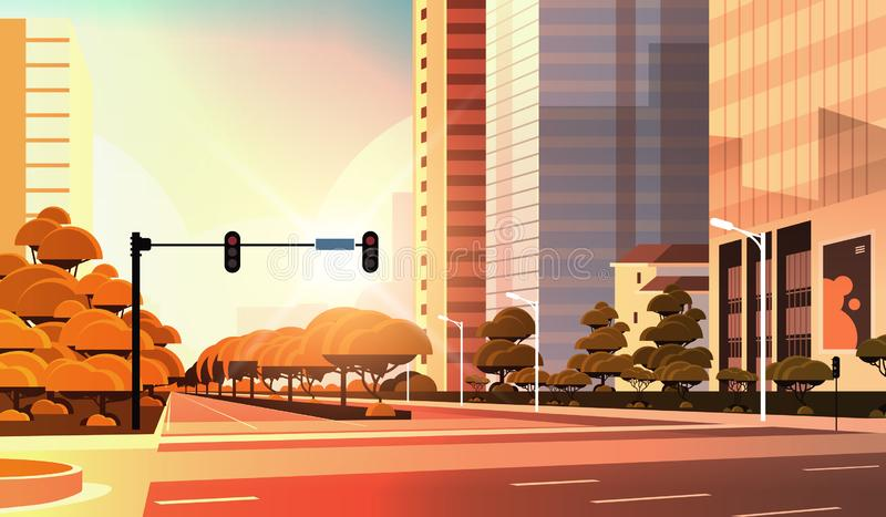 Uliczna droga asfaltowa Beautifil z pasem ruchu High-Skyscraper współczesny krajobraz zachodni płaski poziomy royalty ilustracja