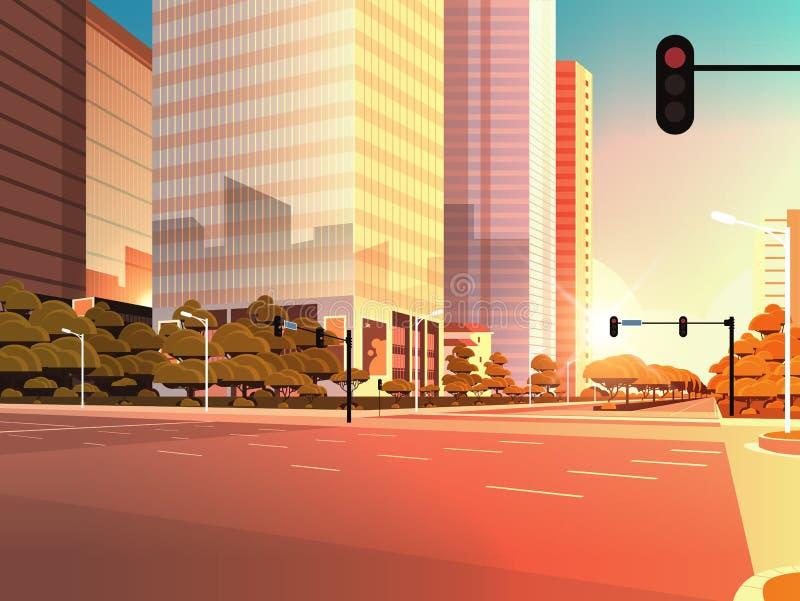 Uliczna droga asfaltowa Beautifil z pasem ruchu High-Skyscraper współczesny krajobraz zachodni płaski poziomy ilustracja wektor
