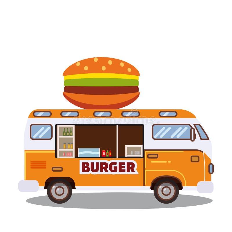 Uliczna jedzenie ciężarówka, samochód dostawczy fast food dostawa Fasta food samochód z dużym hamburgerem na białym tle Kreskówka ilustracja wektor