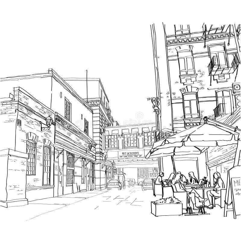 Uliczna kawiarnia royalty ilustracja