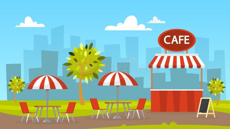 Uliczna kawiarnia bufet zewnętrznego Miasto krajobraz na tle ilustracji