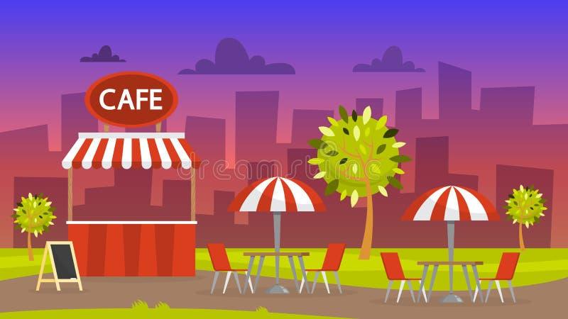 Uliczna kawiarnia bufet zewnętrznego piękne miasto ilustracji krajobrazu noc ilustracja wektor