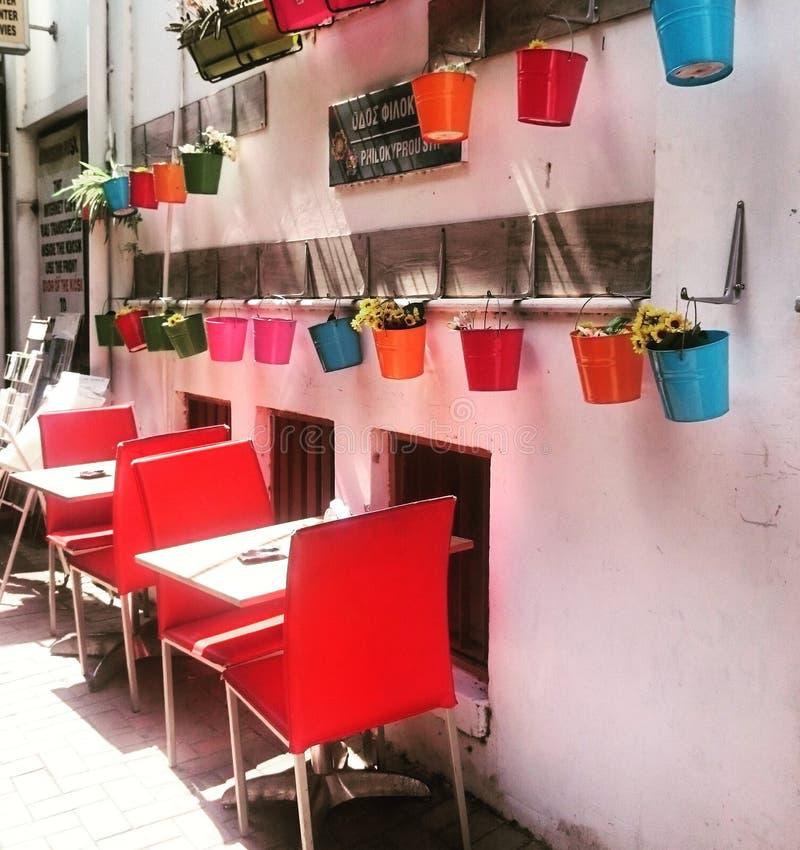 Uliczna kawiarnia w Cypr fotografia stock