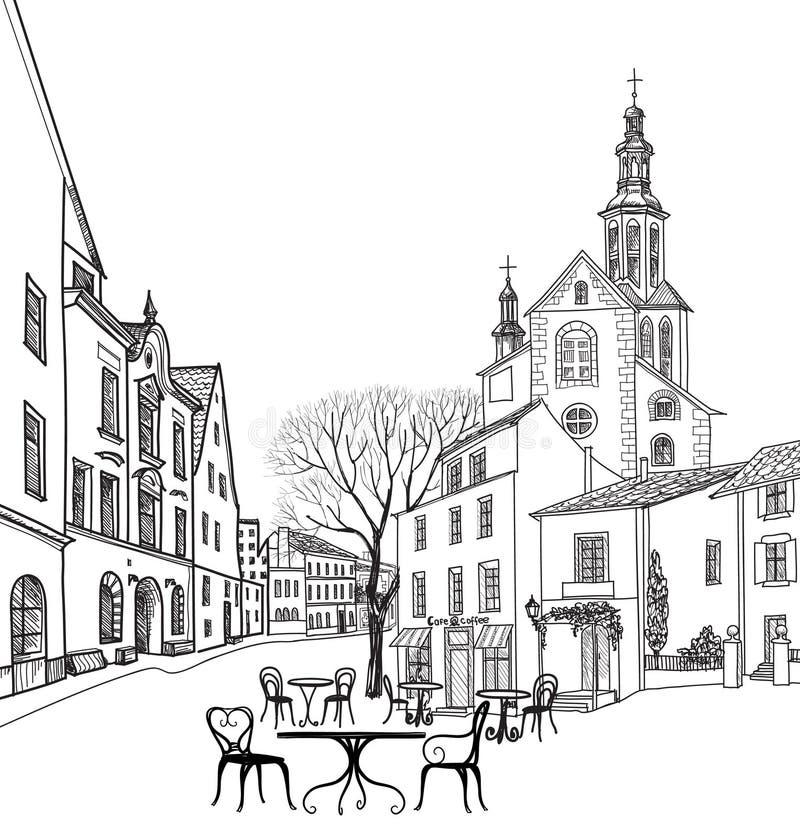 Uliczna kawiarnia w starym mieście Pejzaż miejski domy, budynki i drzewo -, royalty ilustracja