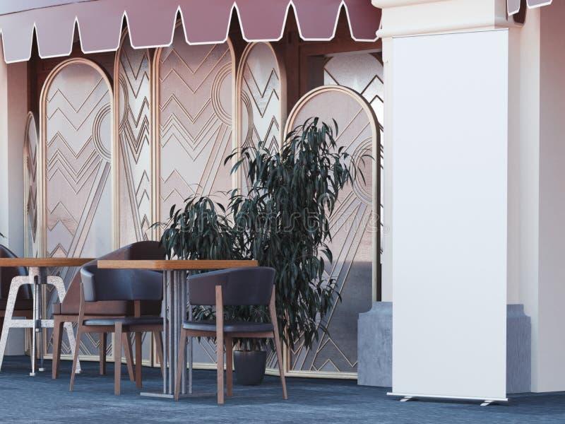 Uliczna kawiarnia z pustym rollup sztandarem świadczenia 3 d royalty ilustracja