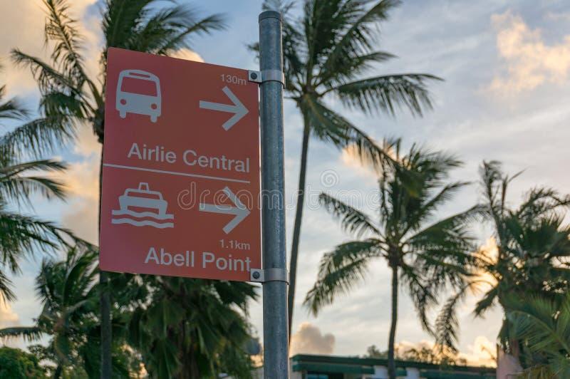 Uliczna książka telefoniczna Airlie Środkowy przystanek autobusowy i Abell punkt obraz royalty free