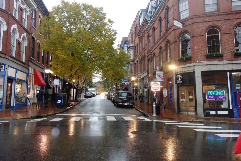 Uliczna scena, Portland, Maine, Listopad 2018 obraz stock