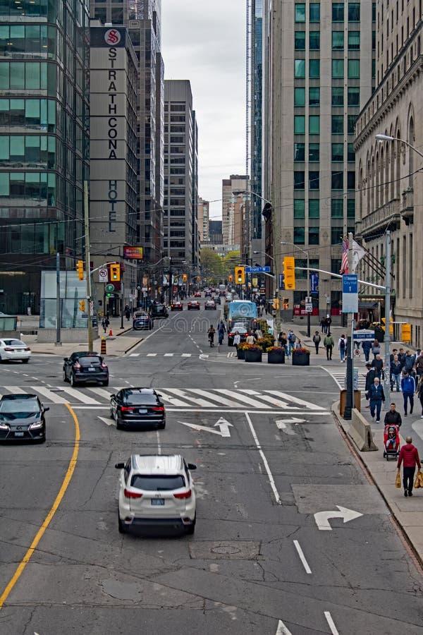 Uliczna scena W W centrum Toronto, Ontario, Kanada obraz stock