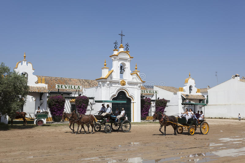 Uliczna sceneria w El Rocio, Hiszpania obraz stock