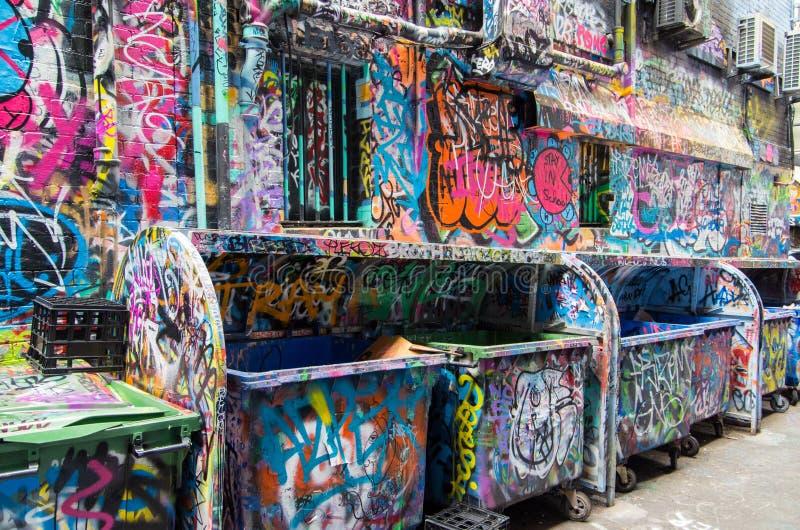 Uliczna sztuka w Rutledge pasie ruchu w Melbourne, Australia obrazy royalty free