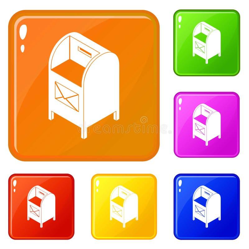 Uliczne ikony ustawiający postbox wektorowy kolor ilustracji