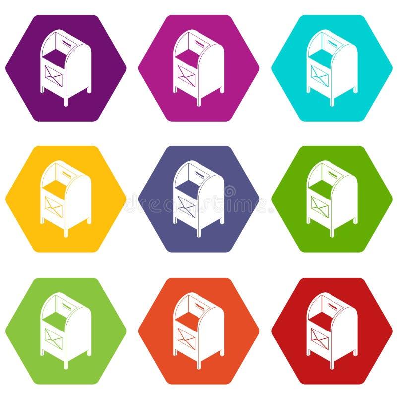Uliczne postbox ikony ustawiają 9 wektor ilustracji