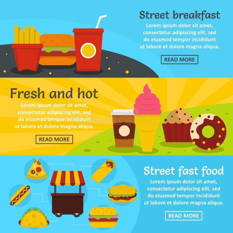 Ulicznego fasta food sztandaru horyzontalny set, mieszkanie styl royalty ilustracja