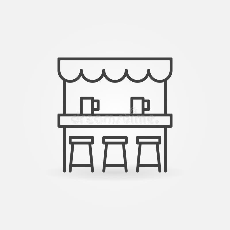 Ulicznego piwo baru wektorowa ikona w cienkim kreskowym stylu ilustracji