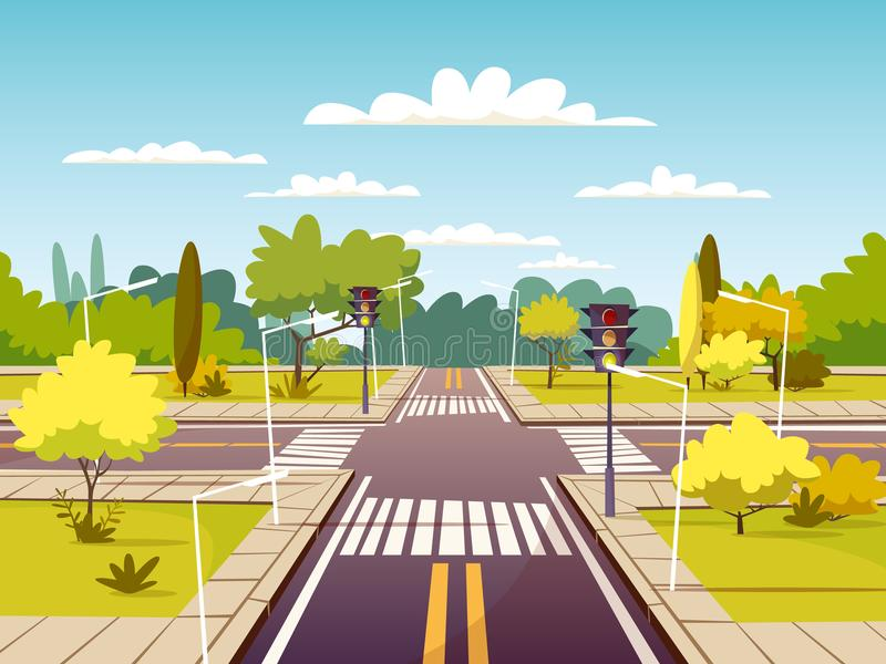 Ulicznego rozdroża kreskówki wektorowa ilustracja ruchu drogowego pas ruchu, zwyczajny skrzyżowanie i crosswalk z ocechowaniem ilustracji