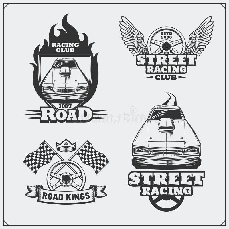 Uliczni bieżni emblematy, etykietki, odznaki i projektów elementy, ilustracyjny lelui czerwieni stylu rocznik ilustracja wektor