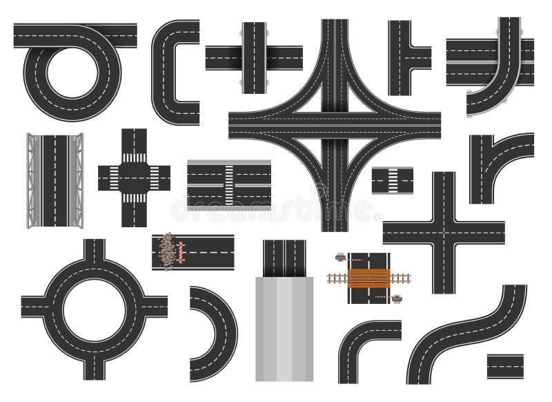 Uliczni drogowi elementy ilustracji