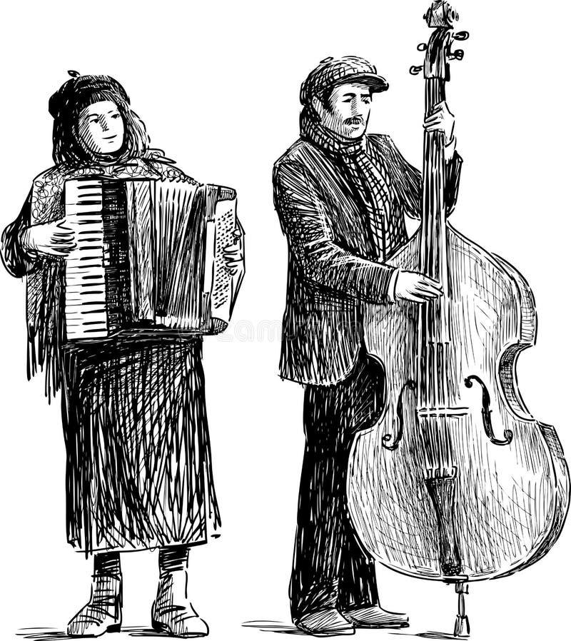 Uliczni muzycy royalty ilustracja