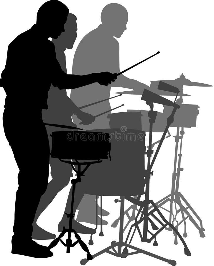 Uliczni muzyków dobosze odizolowywający na białym tle ilustracja wektor