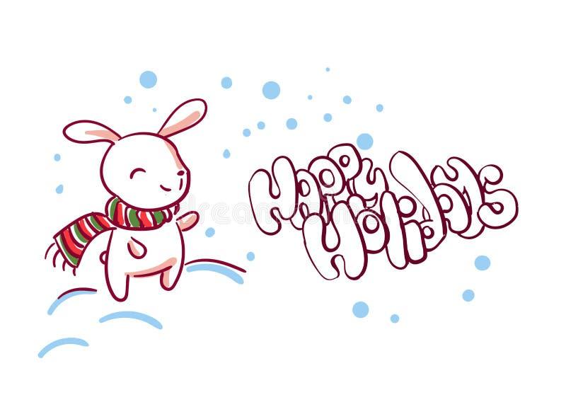Uliczny śnieżny królik kartki bożonarodzeniowej doodle styl royalty ilustracja