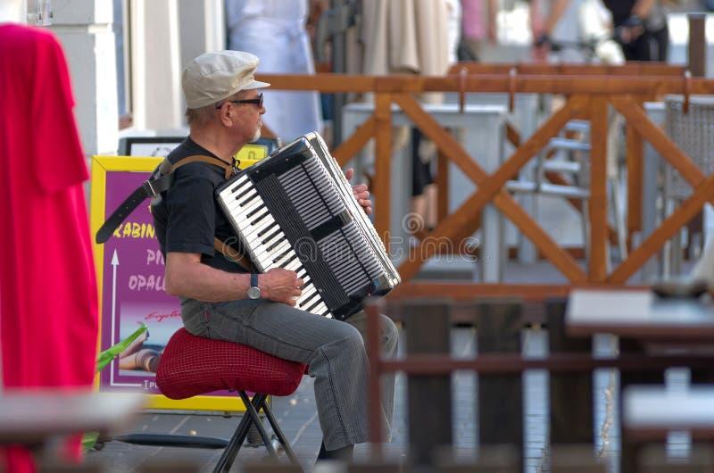 Uliczny akordeonista fotografia stock